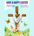 easter cross with spring flower greeting card vector image vector image