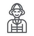 firefighter line icon fire and person fireman vector image vector image