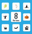 flat icon celebrate set phantom witch cap vector image vector image
