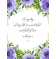 floral greeting card postcard with anemones vector image vector image