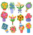 flowers bouquet set collection flat floral vector image