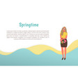 girl standing with flower in springtime vector image vector image