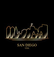 gold silhouette of san diego on black background vector image vector image