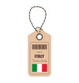 hang tag made in italy with flag icon isolated on vector image vector image