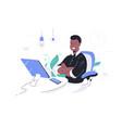 happy african american businessman crossing hands vector image vector image