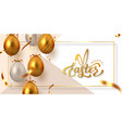 happy easter banner with hanging golden eggs vector image vector image