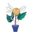 Happy flower scientist vector image vector image