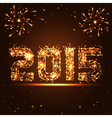 Happy New Year - 2015 - golden fireworks numbers vector image