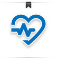heart cardiogram blue icon - heartbeat sign vector image