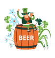 holiday saint patrick day leprechaun sitting on vector image