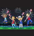 kids celebrating fourth of july vector image