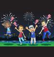 kids celebrating fourth of july vector image vector image