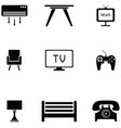 living room icon set vector image