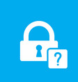 lock icon with question mark vector image vector image