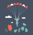 male skydiver flying with a parachute vector image vector image