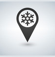 map location with snowflake on white background vector image