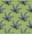 marijuana leaves hand drawn seamless pattern grey vector image vector image