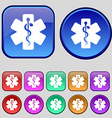 Medicine icon sign A set of twelve vintage buttons vector image vector image