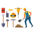 miner and mining industry equipments kit vector image