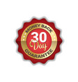 money back in 30 days guarantee label golden icon vector image vector image