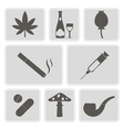 monochrome icons with symbols of drug addiction vector image