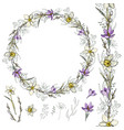 narcissus and crocus wreath vector image vector image