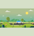nature path countryside with car and sky vector image vector image
