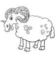 ram farm animal cartoon character coloring book vector image vector image