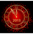 Red and gold new year clock vector | Price: 1 Credit (USD $1)