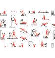seamless pattern with men doing exercises vector image vector image