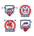set emblem with sticks and puck equipment vector image