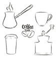 set of coffee objects grunge contours vector image