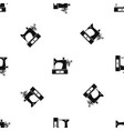 sewing machine pattern seamless black vector image vector image