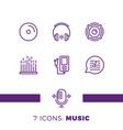 Simple set of music audio related line icons