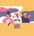 sleepless women with coffee and papers landing vector image