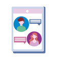 smartphone website app couple chatting isolated vector image