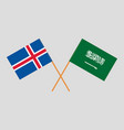 the icelandic and ksa flags vector image vector image