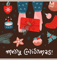 top view scene two hands holding gift box with vector image vector image