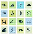 transport icons set with river van slippery way vector image vector image