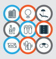 travel icons set with thongs camera location vector image vector image