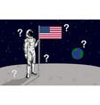 usa astronaut raise flag on moon vector image vector image
