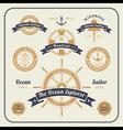 Vintage nautical labels set on light bcakground vector image vector image