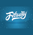 white letters february on blue background vector image vector image