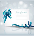 white postcard with ribbon vector image vector image