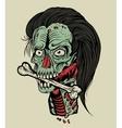 zombie head with a bone vector image vector image