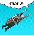 Pop Art Businessman Flying on Rocket Start Up vector image