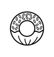 line delicious and sweet donut desert vector image