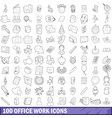 100 office work icons set outline style vector image