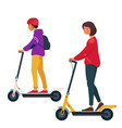 a young man and a woman ride an electric scooters vector image vector image