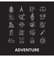 adventure editable line icons set on black vector image vector image